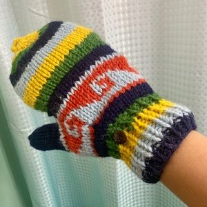 Wool convertible fingerless knit mittens ❄️